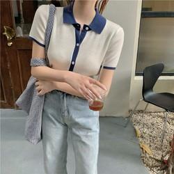 (HÀNG SẴN) Áo len sơ mi POLO nữ cộc tay dệt kim mỏng nhẹ cài khuy phối viền ôm dáng Hàn Quốc