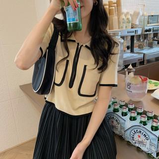 FREESHIP (ORDER) Áo len cộc tay dệt kim LOLO cổ bẻ kéo khóa phối viền 2 túi style Hàn Quốc điệu đà - RiU25J thumbnail