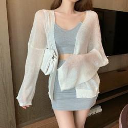 Áo khoác Cardigan len mỏng phong cách Hàn Quốc