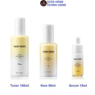 Bộ 3 Sản Phẩm Làm Sáng Da, Mờ Thâm Nám VariHope 8 Days Pure Vitamin C (Toner 100ml + Serum 15ml + Kem dưỡng 50ml) - Combo 3 Varihope (toner + serum + kem) thumbnail