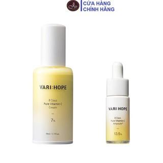Bộ 2 Sản Phẩm Dưỡng Trắng Da, Mờ Thâm Varihope 8 Days Pure Vitamin C (Serum 15ml + Kem 50ml) - combo 2 varihope (toner + serum) thumbnail