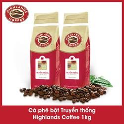 [Trợ ship 15k] Combo 2 Cà phê bột Truyền thống Highlands Coffee 1kg