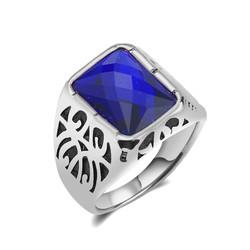 Nhẫn nam điêu khắc mặt đá xanh dương giá tốt ver6 MNH008T-4