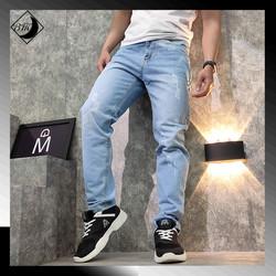 Quần jeans nam xanh bạc cào rách BM153