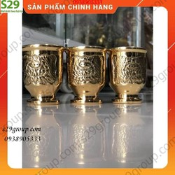 Compo 3 Ly Nước Thờ Cúng Được khắc Hoa Sen Bằng Đồng Cao 5cm, Đồ Thờ Cúng Cao Cấp,Hàng Chính Hãng.