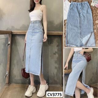 Chân váy jean dáng dài xẻ bên CV3775 - CV3775 thumbnail