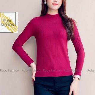 Áo thun tăm nữ Ruby dài tay, giữ nhiệt cao cấp cổ 3 phân dáng ôm vải mềm - áo len tăm 3 phân thumbnail