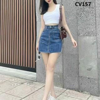 Chân váy ngắn dáng A loại jean co giãn CV157 - CV157 thumbnail