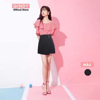 Chân váy nữ chữ A GINDY phối cúc đáp tà lệch phong cách trẻ trung hàng thiết kế - V20011 thumbnail