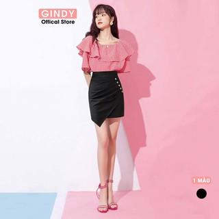 Chân váy ngắn GINDY vạt chéo xếp li 5 cúc hàng thiết kế thời trang - V4132 thumbnail