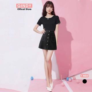 Chân váy chữ A GINDY đen viền chỉ nổi 5 cúc phong cách công sở thanh lịch hàng thiết kế - V5102 thumbnail