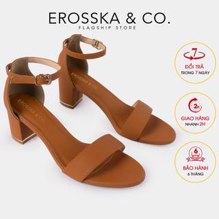 Gia y sandal cao gót Erosska thơ i trang mũi hở quai ngang cao 7cm màu bò _ CS008 - CS008BR thumbnail