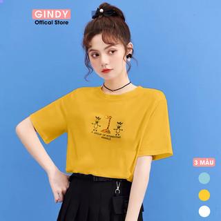 Áo phông nữ GINDY áo thun in hình Giraffe cổ tròn dáng suông - A20027 thumbnail