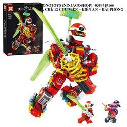 [Ảnh thật] Lắp ráp xếp hình NON lego ninjago 2032 : robot người máy đỏ ninja lửa Kai 338 mảnh