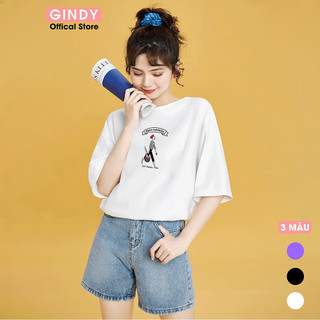 Áo thun phông GINDY tay lỡ lassie phong cách Unisex thời trang năng động - A20037 thumbnail