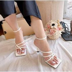 Giày sandal gót nhọn nhiều quai mảnh dây mũi vuông kiểu guốc cao gót 6cm nữ tính nhẹ nhàng công sở đơn giản
