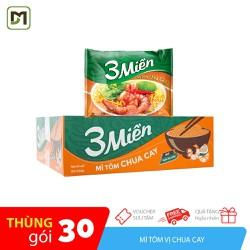 Thùng 30 gói mì 3 Miền hương vị Tôm Chua Cay gói 65gr