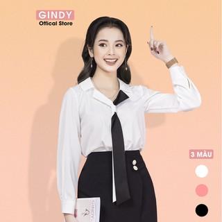 [HÀNG VIỆT NAM] Áo sơ mi nữ vải lụa GINDY thiết kế cổ áo phối dây đồ công sở thời trang thanh lịch A10008 - A10008 thumbnail