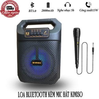 Loa bluetooth kèm mic hát Kimiso Kiểu dáng xách tay nhỏ gọn - Âm thanh cực hay - KMQS3607 thumbnail