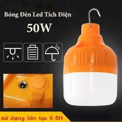 Bóng Đèn Tích Điện 50W LED – Bóng Đèn Sạc Điện có móc treo – Pin siêu lâu 6-8 tiếng – 3 chế độ sáng Mạnh, Vừa, Nhẹ