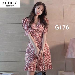 Váy đầm voan hoa nữ ulzzang tay ngắn dáng xoè dạo phố - g176 thumbnail