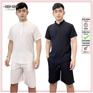 Bộ quần áo thể thao nam vải đũi mềm siêu nhẹ - Áo sơ mi cao cấp đũi kẻ caro thumbnail