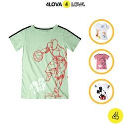 Áo thun cộc tay bé trai 4LOVA áo phông cotton họa tiết hoạt hình