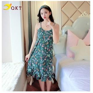 Đầm 2 dây nữ QKT thiết kế mặc nhà họa tiết trẻ trung VN40 - vn40 thumbnail