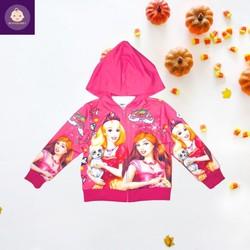 Áo khoác bé gái hình công chúa Barbie từ 10-43kg - Thun da cá hút mồ hôi-HN.Store115