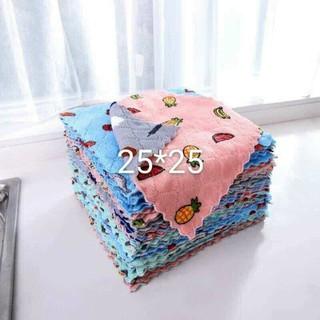 Túi 10 khăn lau size to hình vuông có họa tiết 25x25cm - yuu thumbnail