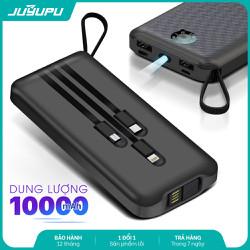 Sạc dự phòng JUYUPU PG101 10000mAh kèm dây sạc iPhone Micro Type C đèn pin và chân USB 2 mặt chính hãng dành cho iPhone Samsung OPPO VIVO HUAWEI XIAOMI pin sạc dự phòng