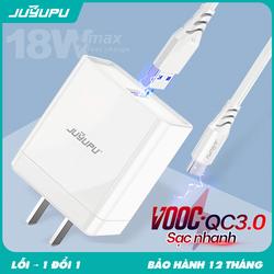 Củ sạc JUYUPU Q1 QC3.0 18W cao cấp bộ sạc chính hãng kèm dây cáp Micro hoặc Type C dành cho Samsung OPPO VIVO HUAWEI XIAOMI củ sạc nhanh