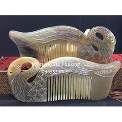 Lược sừng thiên nga tách mặt cao cấp - Đẹp nhất và sang trọng nhất - Mỹ nghệ Hà Phương