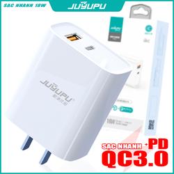 Củ sạc nhanh JUYUPU U01C-T cao cấp PD QC3.0 18W sạc điện thoại chính hãng thích hợp cho iPhone Samsung OPPO VIVO HUAWEI XIAOMI cục sạc