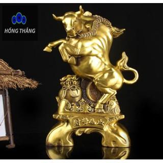 Tượng linh vật trâu sửu đứng trên bao tài lộc bằng đồng thau cỡ đại phong thủy Hồng Thắng - 6520_46396309 thumbnail