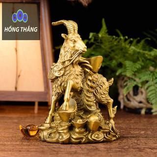 Tượng linh vật con dê dương cõng nén vàng bằng đồng thau phong thủy Hồng Thắng - 6520_46386371 thumbnail