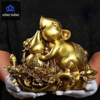 Tượng linh vật con chuột ôm hồ lô bên hoa mẫu đơn bằng đồng thau phong thủy Hồng Thắng - 6520_46385731 thumbnail
