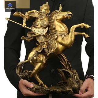 Tượng quan công vũ vân trường cưỡi ngựa bằng đồng thau vàng phong thủy Hồng Thắng - 6515_46393271 thumbnail