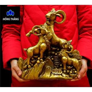 Tượng linh vật con dê tam dương khai thái bằng đồng thau phong thủy Hồng Thắng - 6520_46393218 thumbnail