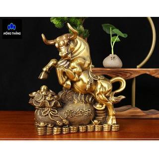 Tượng linh vật con trâu sửu đồng vàng phong thủy Hồng Thắng - 6520_46396951 thumbnail