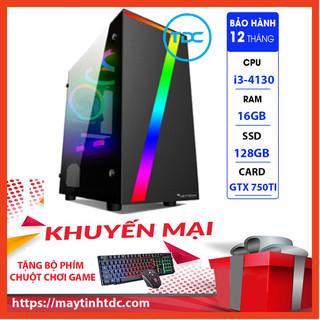 Case Máy Tính Chơi Game Máy Tính Chơi Game MAX PC GAMING X7 CPU Core i3 4130 Ram 16GB SSD 128GB GTX 750TI Chơi PUBG,LOL, CF, Fifa4, Đế chế ...+ Tặng Ngay Bàn Phím Giả Cơ,Chuột Led 7 Màu - X7.750TI.4130.16.128 thumbnail