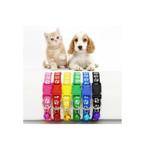 Vòng Cổ Chó Mèo- Có Chuông Dây Đeo Cổ Bằng Vải Dù Nhiều Màu Dễ Điều Chỉnh Độ Dại Cho Chó Mèo In Hình Chân Chó Mèo