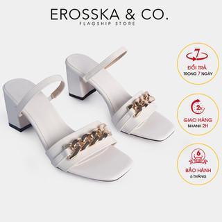 Erosska - Dép quai xích kiểu dáng Hàn Quốc phối dây cao 7cm màu trắng - EB037 - EB037WH thumbnail