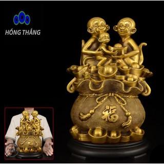 Tượng linh vật Gia đỉnh khỉ phong hầu trên túi bao tài lộc bằng đồng thau phong thủy Hồng Thắng - 6520_46671727 thumbnail