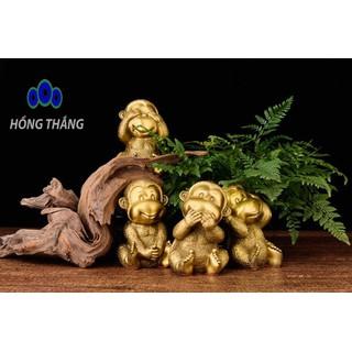 Bộ tượng tứ không khỉ bằng đồng thau cỡ trung phong thủy Hồng Thắng - 6520_46677466 thumbnail