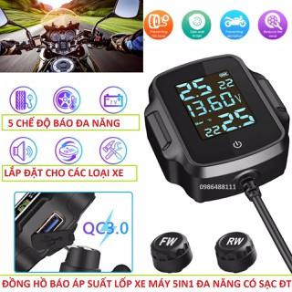 Thiết bị báo áp suất lốp xe máy có sạc điện thoại cùng 5 chức năng đặc biệt khác loại tốt chống nước, đồng hồ áp suất lốp xe máy 5in1 loại đặc biệt - V03 thumbnail
