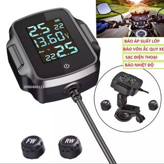 Thiết bị báo áp suất lốp xe máy đa năng 5in1 có cổng sạc điện thoại , đồng hồ xe máy báo áp suất lốp công nghệ bluethoo không dây loại tốt - v01 thumbnail