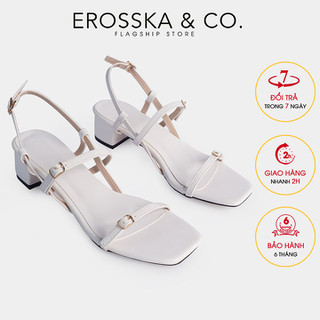 Erosska - Gia y sandal cao gót phối dây mảnh kiểu dáng Hàn Quốc cao 5cm màu trắng - EB036 - EB036WH thumbnail