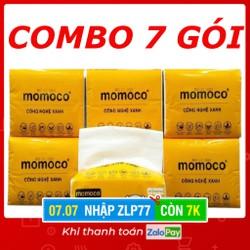 [Nhập ZLP77 - Chỉ còn 7k] COMBO 7 GÓI - GIẤY RÚT 300 TỜ 3 LỚP MOMOCO DAI MỀM MỊN - Giấy rút trắng loại 1