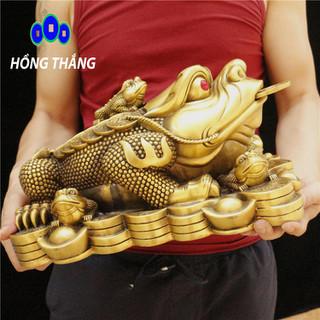 Tượng linh vật con cóc thiềm thừ ngậm tiền bằng đồng thau phong thủy Hồng Thắng - 6521_46689674 thumbnail